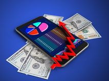 3d arrow chart. 3d illustration of mobile phone over blue background with banknotes and arrow chart Stock Image