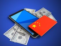 3d china flag. 3d illustration of mobile phone over blue background with banknotes and china flag Royalty Free Stock Photos