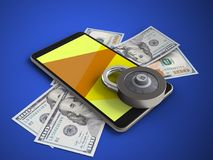 3d yellow. 3d illustration of mobile phone over blue background with banknotes and code lock Royalty Free Stock Photography