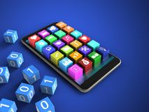 3d binary cubes. 3d illustration of mobile phone over blue background with binary cubes and application icons Stock Photography