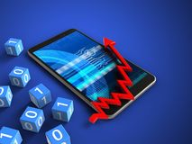 3d cyber. 3d illustration of mobile phone over blue background with binary cubes and arrow chart Stock Photo