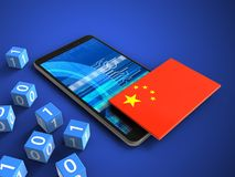 3d binary cubes. 3d illustration of mobile phone over blue background with binary cubes and china flag Stock Photography