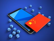 3d binary cubes. 3d illustration of mobile phone over blue background with binary cubes and china flag Royalty Free Stock Image