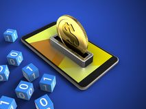 3d binary cubes. 3d illustration of mobile phone over blue background with binary cubes and coin Royalty Free Stock Images