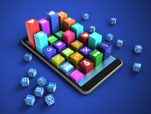 3d colorful icons. 3d illustration of mobile phone over blue background with binary cubes and colorful icons Stock Illustration