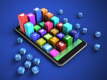 3d mobile phone. 3d illustration of mobile phone over blue background with binary cubes and colorful icons Stock Image