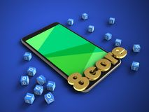 3d green. 3d illustration of mobile phone over blue background with binary cubes and 8 core sign Stock Photos