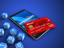 3d binary cubes. 3d illustration of mobile phone over blue background with binary cubes and credit card Stock Photo