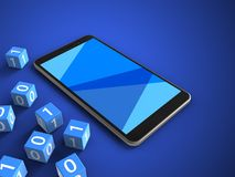 3d blank. 3d illustration of mobile phone over blue background with binary cubes and Royalty Free Stock Photos