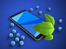 3d binary cubes. 3d illustration of mobile phone over blue background with binary cubes and leaf Stock Illustration