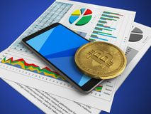 3d business papers. 3d illustration of mobile phone over blue background with business papers and bitcoin Stock Photo