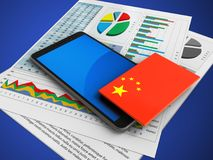 3d business papers. 3d illustration of mobile phone over blue background with business papers and china flag Stock Image