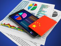 3d business papers. 3d illustration of mobile phone over blue background with business papers and china flag Royalty Free Stock Photography