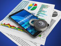 3d business papers. 3d illustration of mobile phone over blue background with business papers and code lock Royalty Free Stock Photo