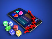 3d cubes. 3d illustration of mobile phone over blue background with cubes and arrow chart Stock Images