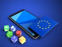 3d cubes. 3d illustration of mobile phone over blue background with cubes and EU flag Royalty Free Stock Photo