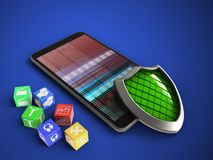 3d mobile phone. 3d illustration of mobile phone over blue background with cubes and shield Stock Image