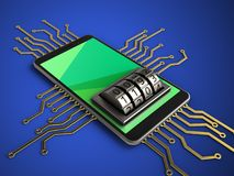 3d green. 3d illustration of mobile phone over blue background with electronic circuit and lock dial Royalty Free Stock Image