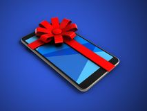 3d mobile phone. 3d illustration of mobile phone over blue background with gift ribbon Stock Photography