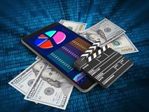 3d cinema clap. 3d illustration of mobile phone over digital background with banknotes and cinema clap Royalty Free Stock Photo