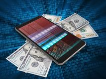3d banknotes. 3d illustration of mobile phone over digital background with banknotes and Stock Photo