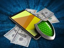 3d mobile phone. 3d illustration of mobile phone over digital background with banknotes and shield Stock Photography