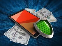 3d red. 3d illustration of mobile phone over digital background with banknotes and shield Stock Photography