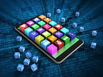 3d application icons. 3d illustration of mobile phone over digital background with binary cubes and application icons Royalty Free Stock Photography