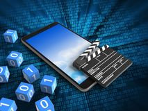3d sky. 3d illustration of mobile phone over digital background with binary cubes and cinema clap Stock Photo