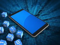 3d blue. 3d illustration of mobile phone over digital background with binary cubes and Stock Images
