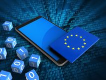 3d blue. 3d illustration of mobile phone over digital background with binary cubes and EU flag Royalty Free Stock Image