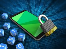 3d green. 3d illustration of mobile phone over digital background with binary cubes and iron lock Royalty Free Stock Image