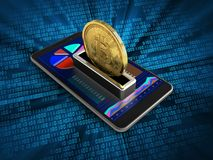 3d mobile phone. 3d illustration of mobile phone over digital background with bitcoin Royalty Free Stock Image