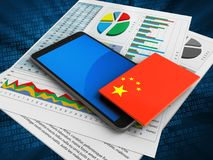 3d blue. 3d illustration of mobile phone over digital background with business papers and china flag Royalty Free Stock Images