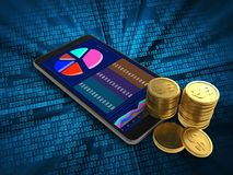 3d mobile phone. 3d illustration of mobile phone over digital background with coins Stock Photo