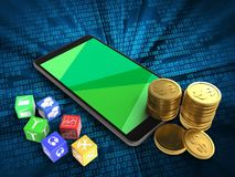 3d coins. 3d illustration of mobile phone over digital background with cubes and coins Royalty Free Stock Image