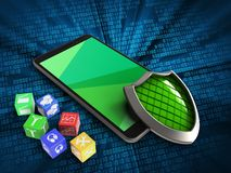 3d cubes. 3d illustration of mobile phone over digital background with cubes and shield Stock Photo