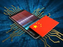 3d china flag. 3d illustration of mobile phone over digital background with electronic circuit and china flag Royalty Free Stock Photo
