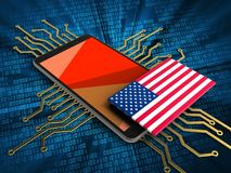 3d USA flag. 3d illustration of mobile phone over digital background with electronic circuit and USA flag Royalty Free Stock Photography