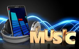 3d mobile phone music sign. 3d illustration of mobile phone over sound wave black background with music sign Royalty Free Stock Photos