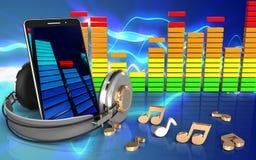 3d mobile phone audio spectrum Royalty Free Stock Image