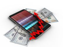 3d mobile phone. 3d illustration of mobile phone over white background with banknotes and arrow chart Royalty Free Stock Photo