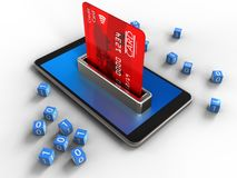3d binary cubes. 3d illustration of mobile phone over white background with binary cubes and bank card Stock Photos