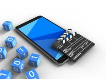 3d cinema clap. 3d illustration of mobile phone over white background with binary cubes and cinema clap Royalty Free Stock Photography