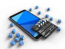 3d cinema clap. 3d illustration of mobile phone over white background with binary cubes and cinema clap Stock Image