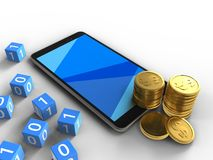 3d coins. 3d illustration of mobile phone over white background with binary cubes and coins Stock Photography
