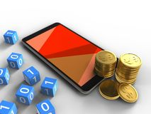 3d coins. 3d illustration of mobile phone over white background with binary cubes and coins Stock Image
