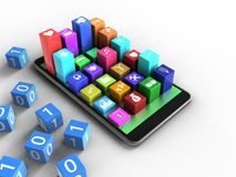 3d green. 3d illustration of mobile phone over white background with binary cubes and colorful icons Stock Image