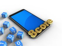 3d binary cubes. 3d illustration of mobile phone over white background with binary cubes and 8 core sign Stock Photos
