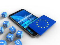 3d EU flag. 3d illustration of mobile phone over white background with binary cubes and EU flag Royalty Free Stock Images